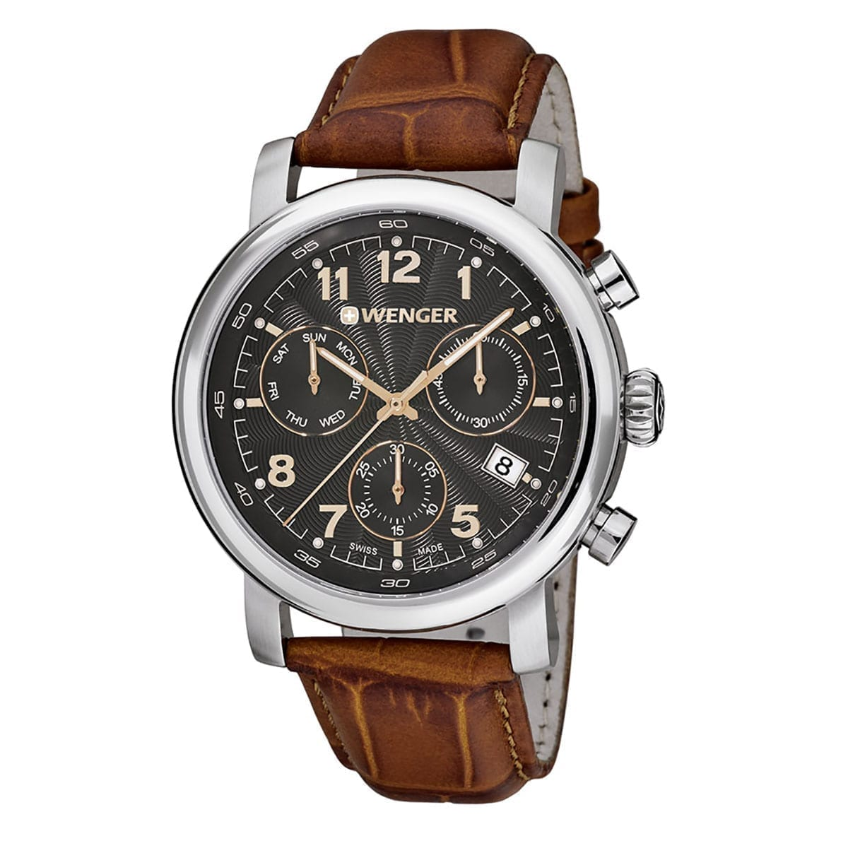 wenger wristwatch urban classic chrono 103 brown black. Black Bedroom Furniture Sets. Home Design Ideas