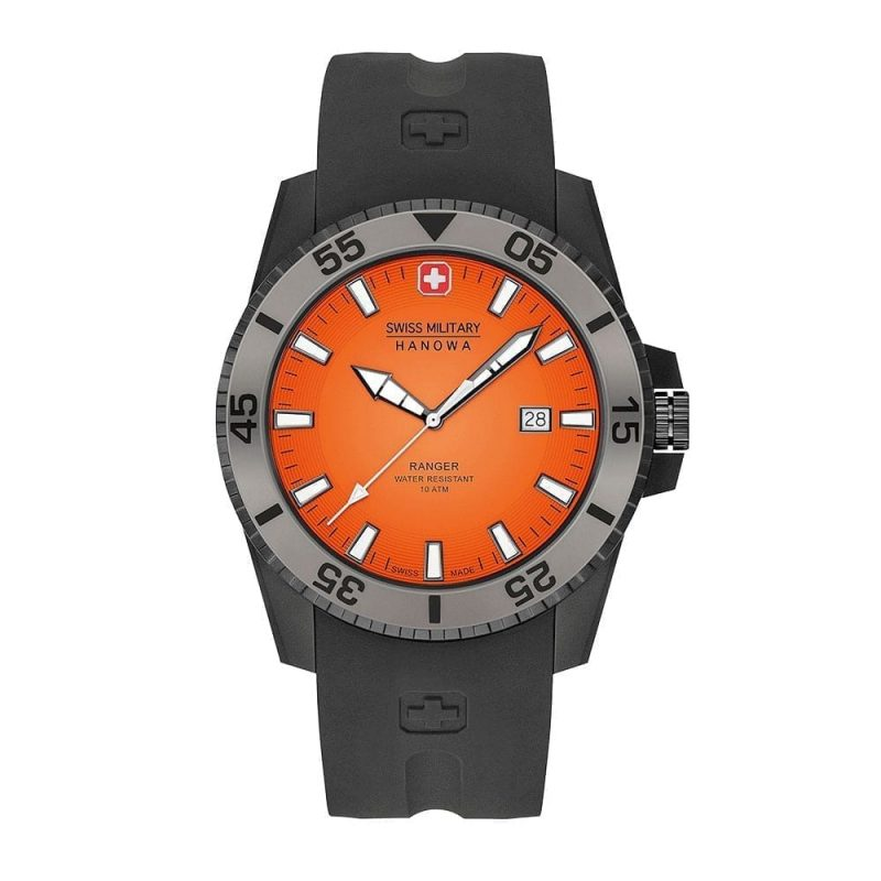 Hanowa swiss military wristwatch ranger black orange swiss made direct for Watches direct