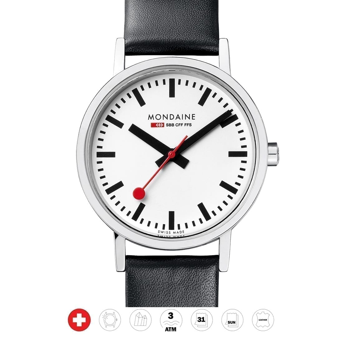 Mondaine wristwatch classic a658 11sbb black white swiss made direct - Mondaine travel clock ...