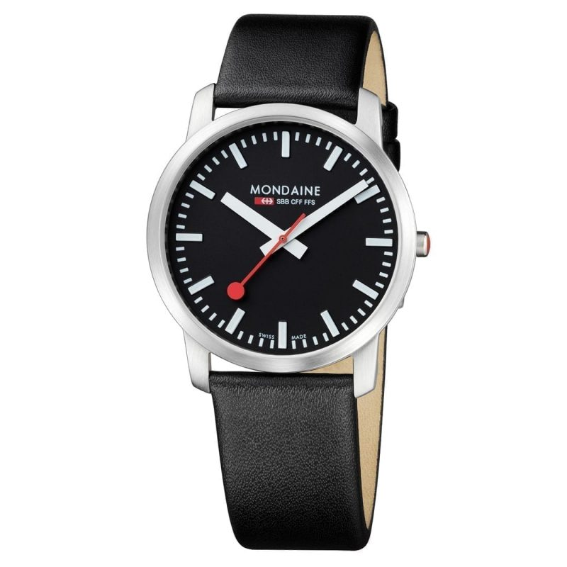 Mondaine wristwatch simply elegant 14sbb black white 41mm swiss made direct for Watches direct