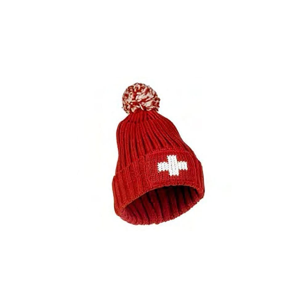 Winter Hat Swiss Cross with Pompon • Swiss Made Direct 8eeb719804f